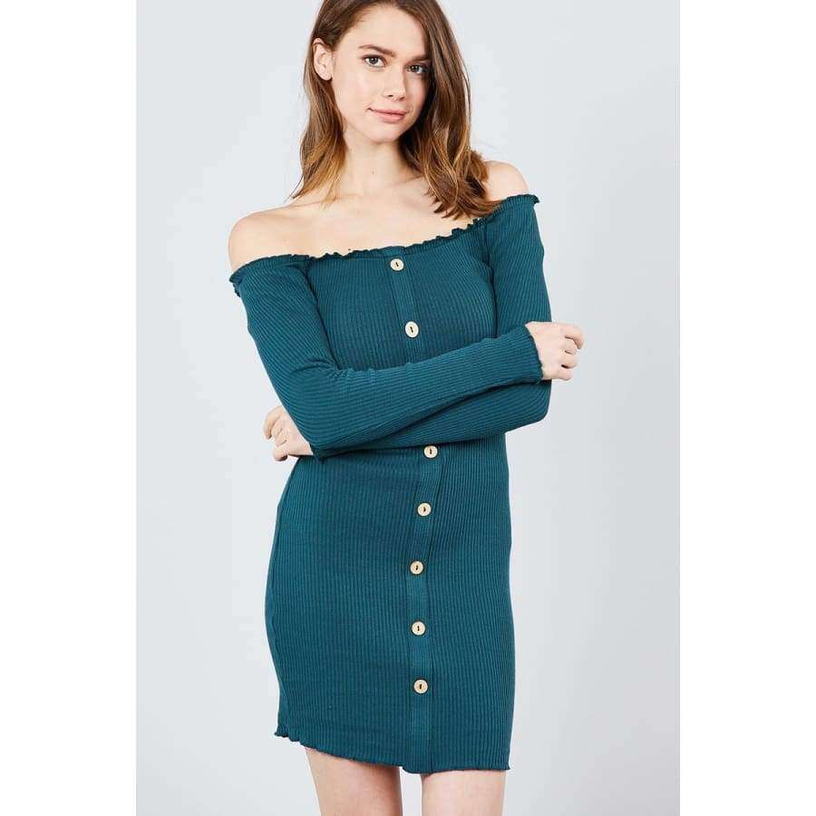 Long Sleeve Button Down Off The Shoulder Teal Mini Dress - S - Dress