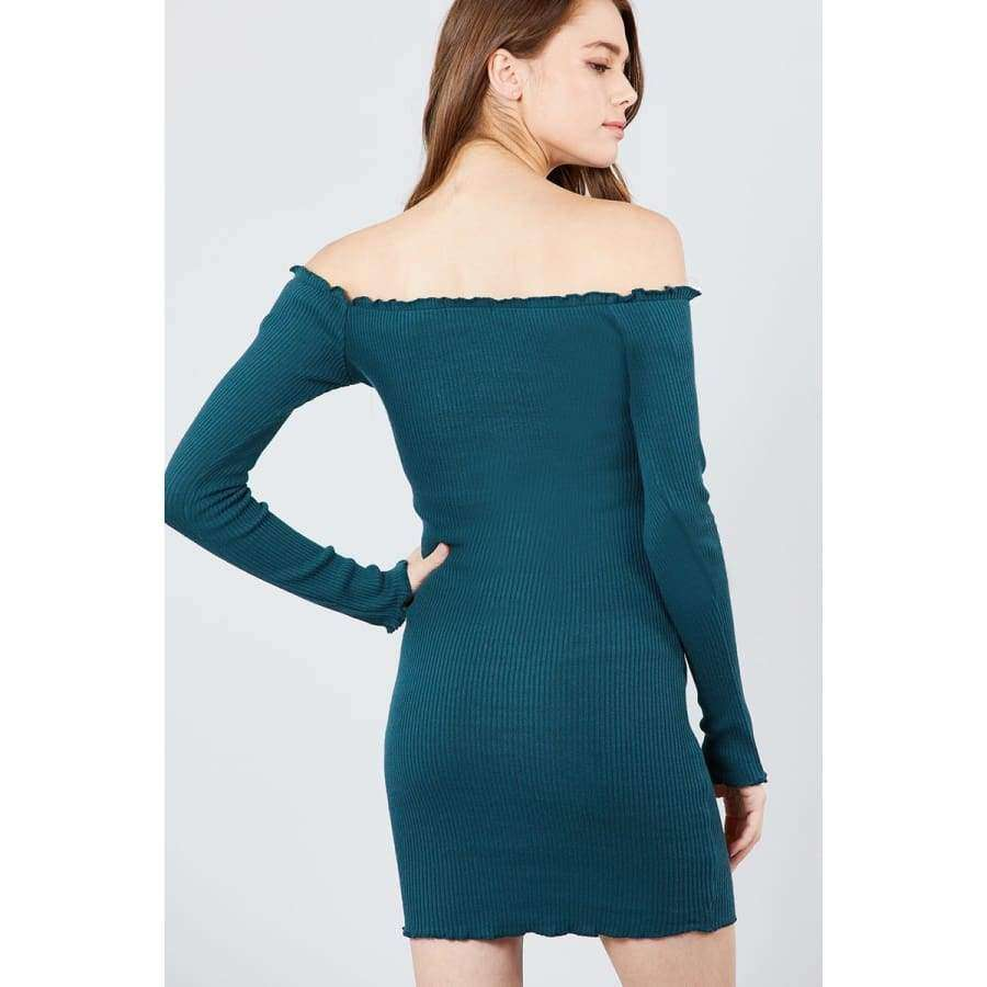 Long Sleeve Button Down Off The Shoulder Teal Mini Dress - Dress