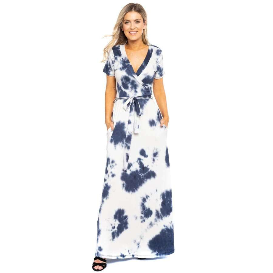 Navy Tie Dye Breathable Summertime Maxi Dress - S - Dress