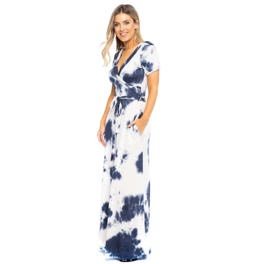 Navy Tie Dye Breathable Summertime Maxi Dress - Dress