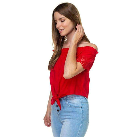Off Shoulder Cutout Sleeve Red Top - Top