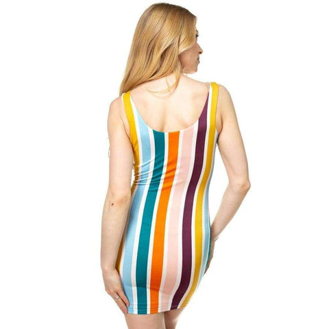 Multi Color Mustard Stripe Crepe Dress - Dress