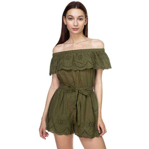 Off Shoulder Floral Embroidered Olive Romper - S - Rompers