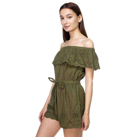 Off Shoulder Floral Embroidered Olive Romper - Rompers