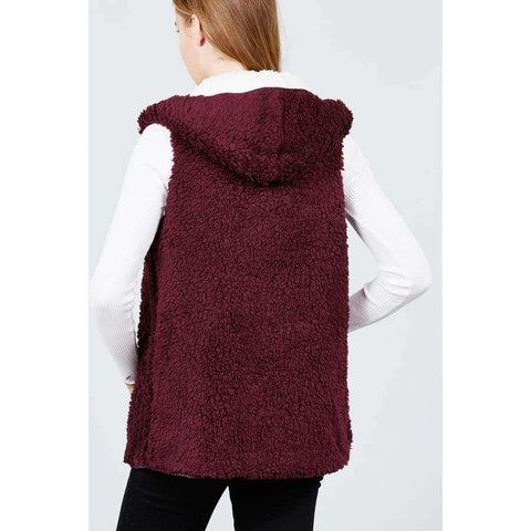 Open Front w/Hoodie White/Burgundy Faux Fur Reversible Vest - Basic Jackets