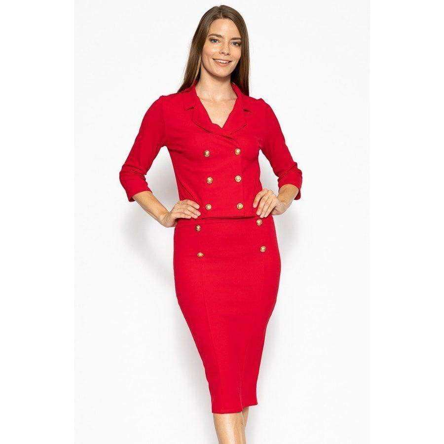 Classic Red Skirt Suit Set - S - Skirt