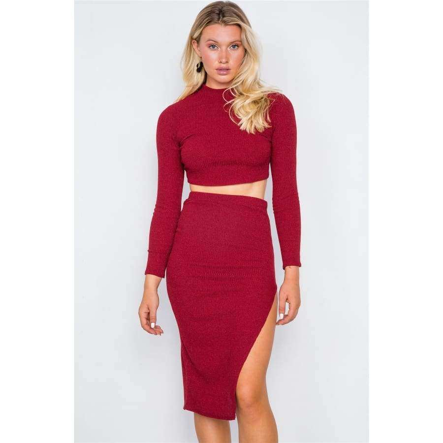 Knit Ribbed Two Piece Red Crop Top Skirt Set - S - Skirt