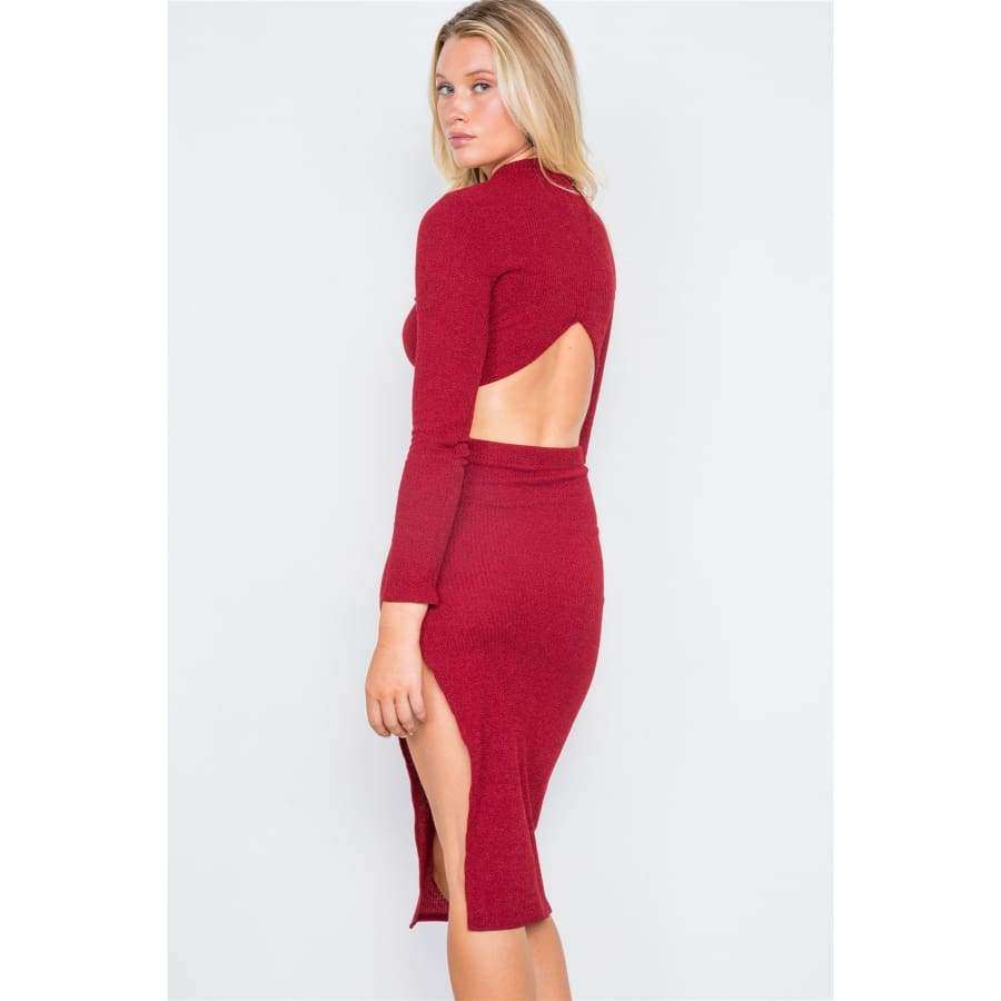 Knit Ribbed Two Piece Red Crop Top Skirt Set - Skirt
