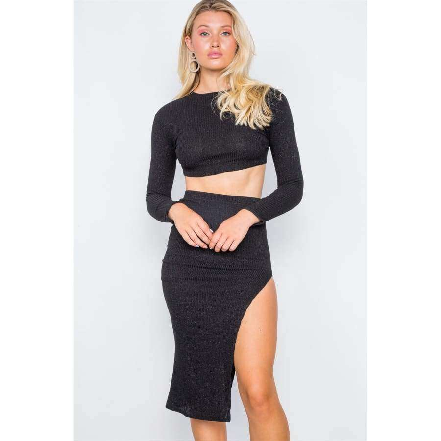 Knit Ribbed Two Piece Black Crop Top Skirt Set - S - Skirt