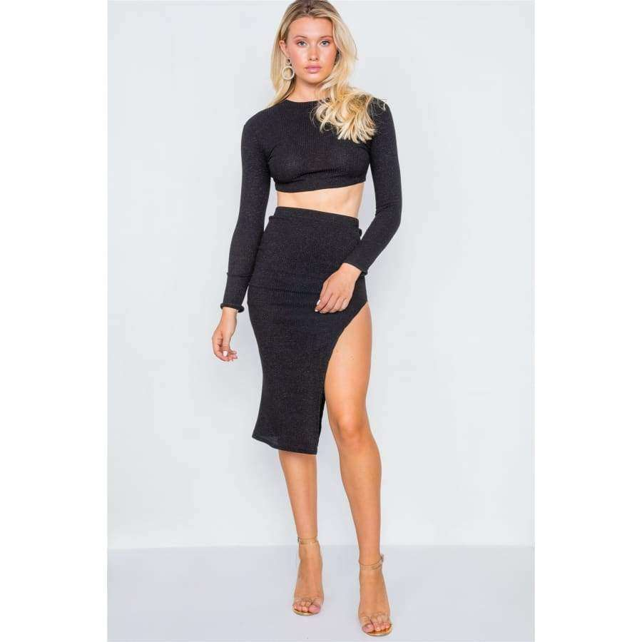Knit Ribbed Two Piece Black Crop Top Skirt Set - Skirt