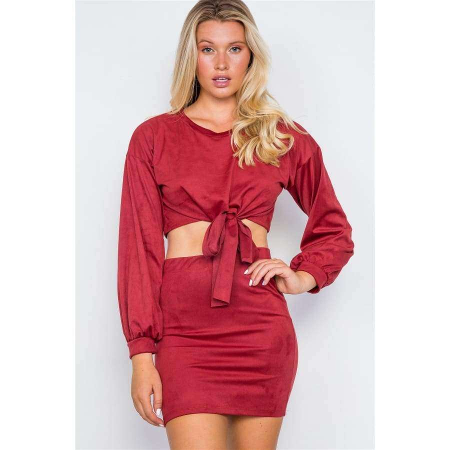 Faux Suede Two Piece Wine Crop Top Mini Skirt Set - S - Skirt
