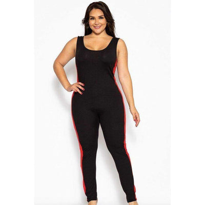 Black/Green/Red Classic Body-Con Jumpsuit (Curvy Sizes Only) - Fitness