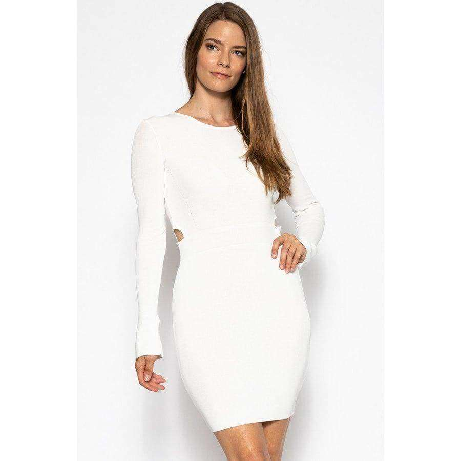 White Bodycon Knit Dress Sweater Dress - S - Dress