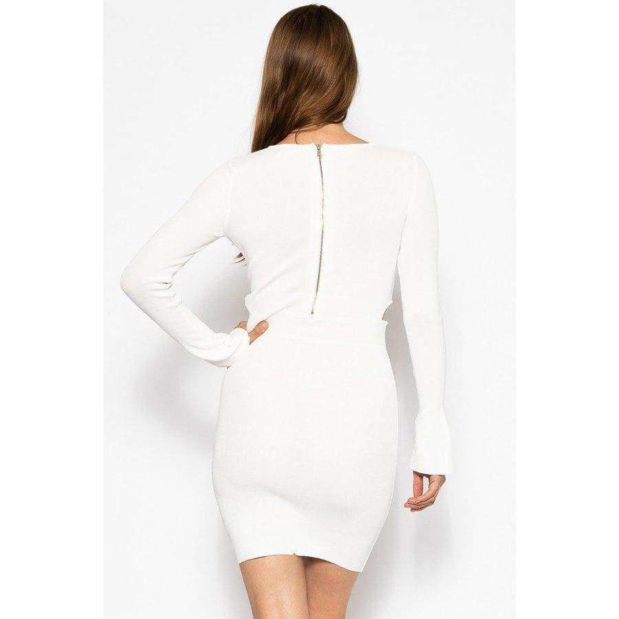 White Bodycon Knit Dress Sweater Dress - Dress