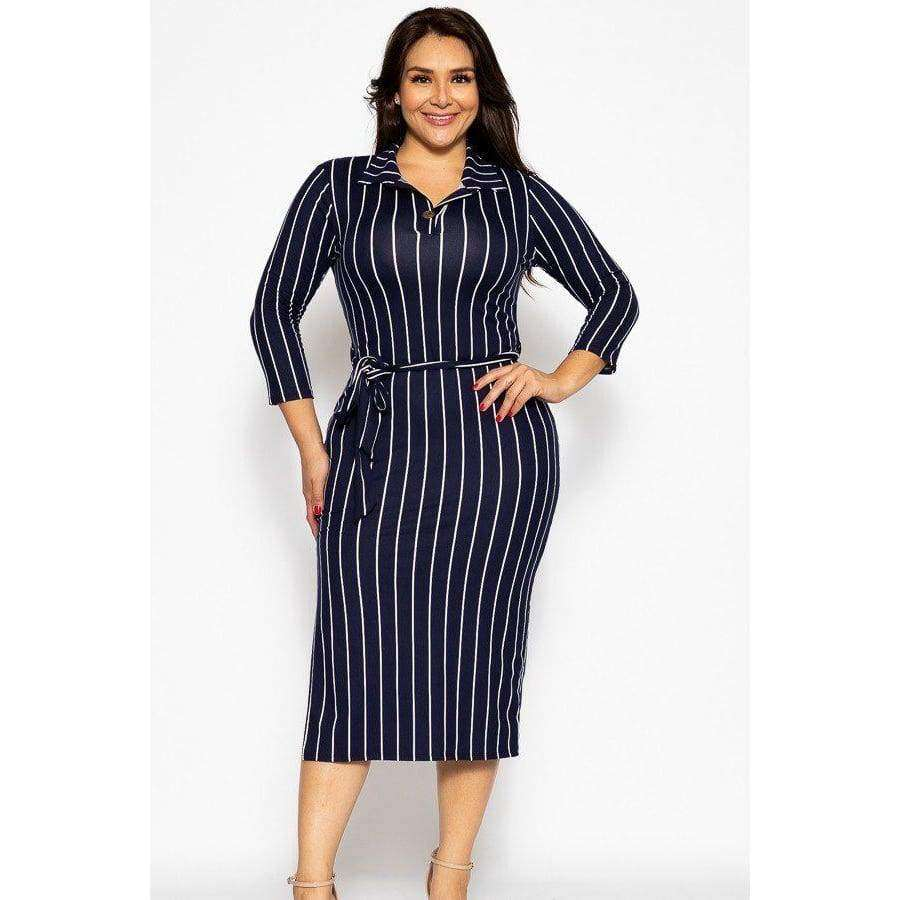 Solid Striped Midi Tee Dress
