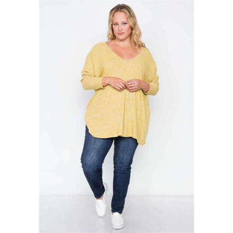 Heather Grey Mustard Knit Long Sleeve Top (Curvy Sizes Only) - Top