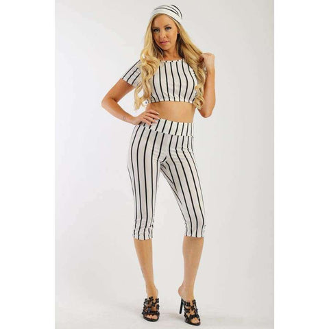 White Pin Striped 3 Piece Top Capri Legging And Scarf Set - S - Leggings