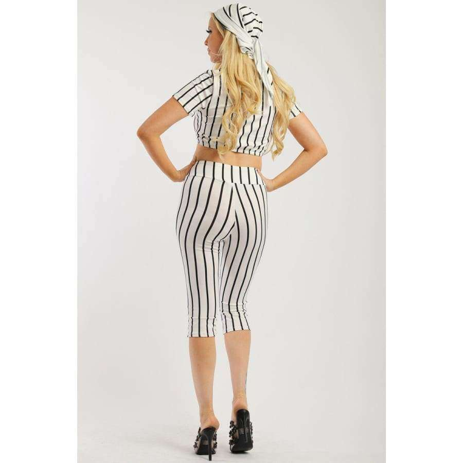 White Pin Striped 3 Piece Top Capri Legging And Scarf Set - Leggings
