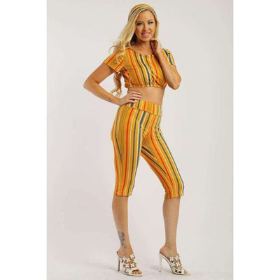 Mustard Pin Striped 3 Piece Top Capri Legging And Scarf Set - Leggings