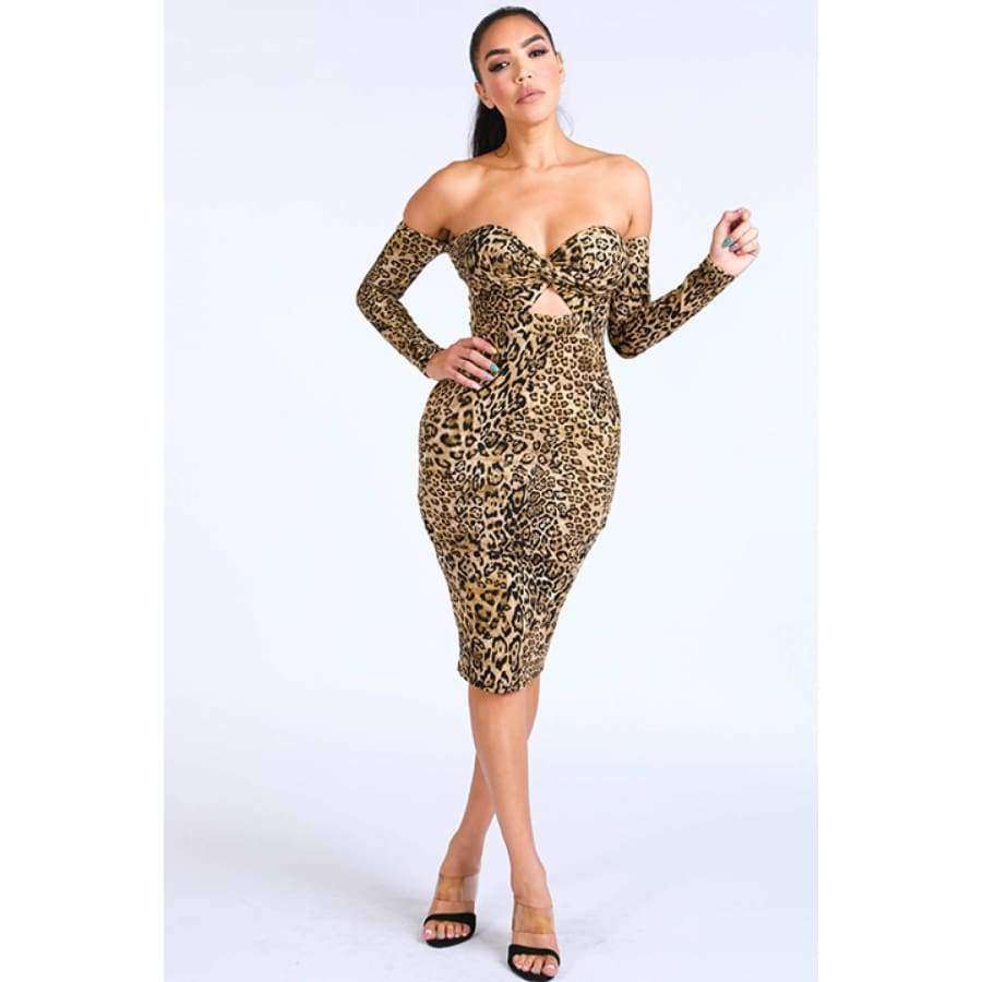 Leopard Off Shoulder Dress - S - Dress