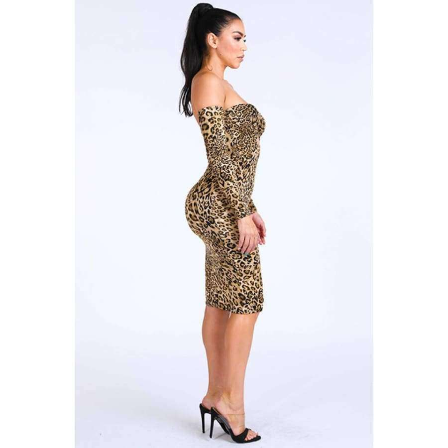 Leopard Off Shoulder Dress - Dress