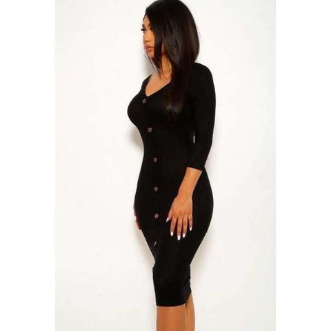 Black Ribbed Long Sleeve Solid Midi Dress - Dress