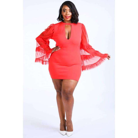 Tiered Mesh Sleeve Red Dress (Curvy Sizes Only) - 1XL - Dress