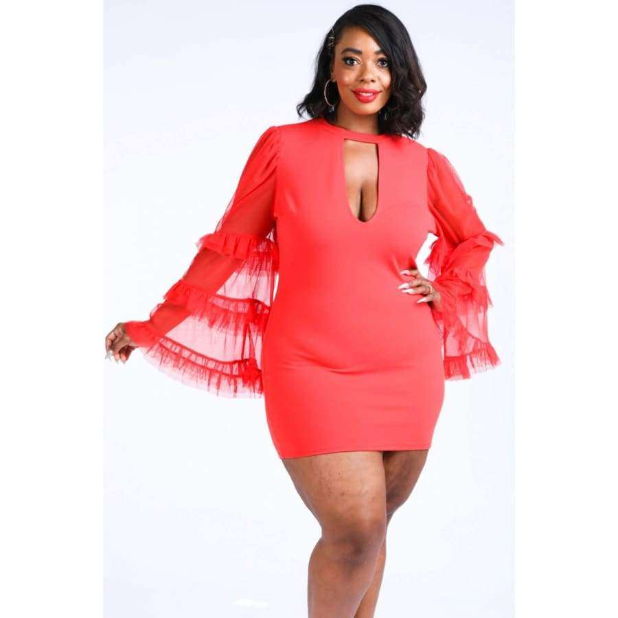 Tiered Mesh Sleeve Red Dress (Curvy Sizes Only) - Dress