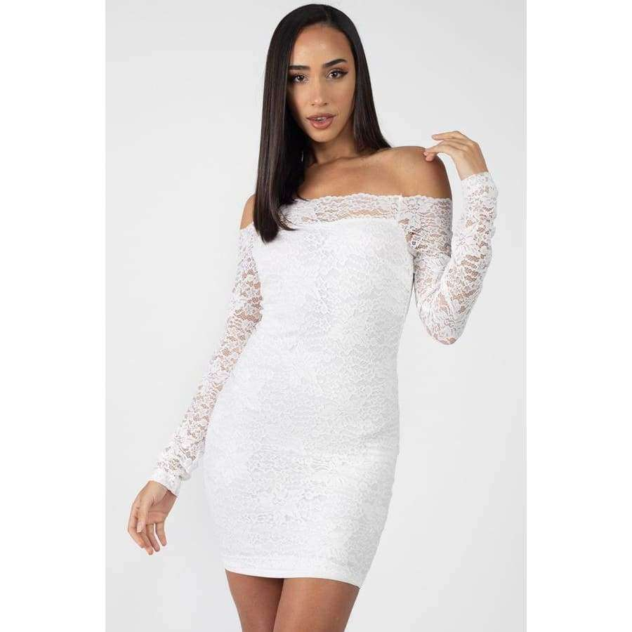 White Floral Lace Off Shoulder Dress - S - Dress