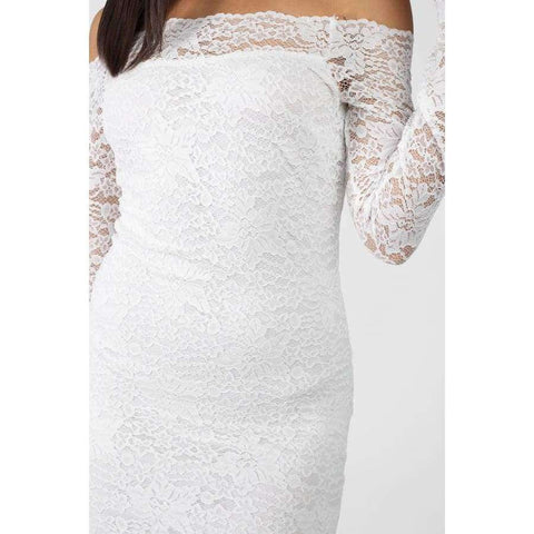 White Floral Lace Off Shoulder Dress - Dress