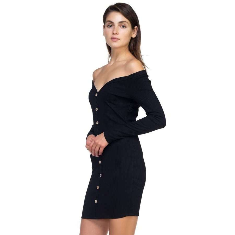 Black Off Shoulder Ribbed Dress - Dress