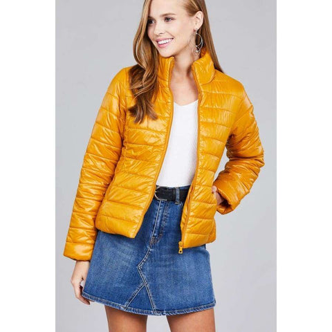 Mustard Long Sleeve Quilted Padding Jacket - S - Jacket