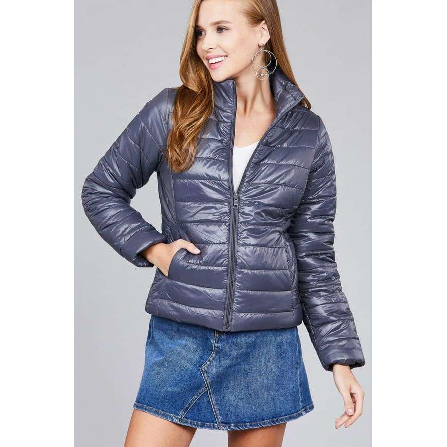 Dark Grey Long Sleeve Quilted Padding Jacket - S - Jacket