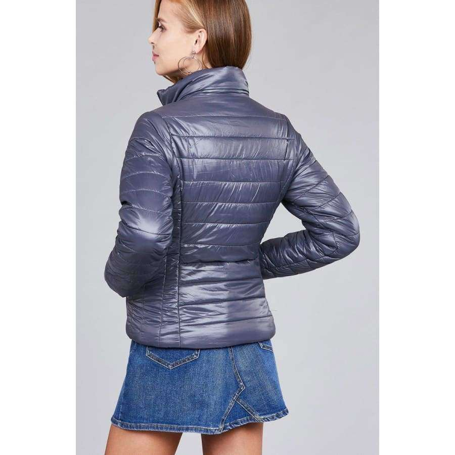 Dark Grey Long Sleeve Quilted Padding Jacket - Jacket