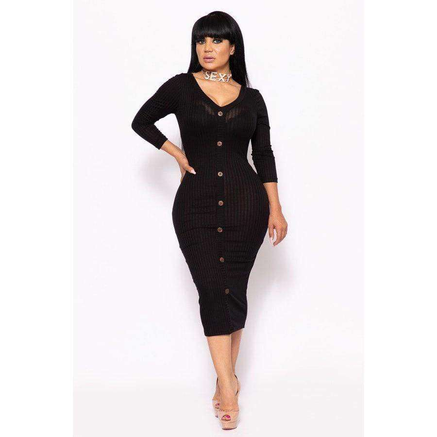 Black Ribbed Long Sleeve Solid Midi Dress (Curvy Sizes Only) - XL - Dress
