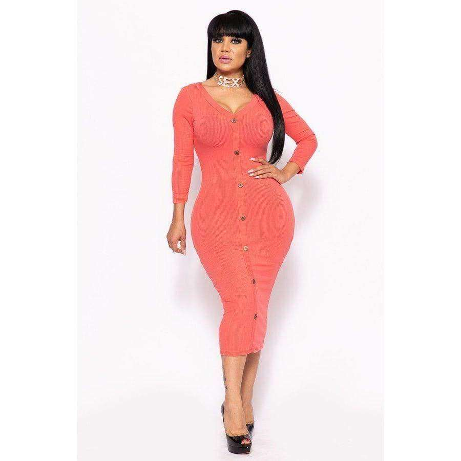 Coral Ribbed Long Sleeve Solid Midi Dress (Curvy Sizes Only) - XL - Dress