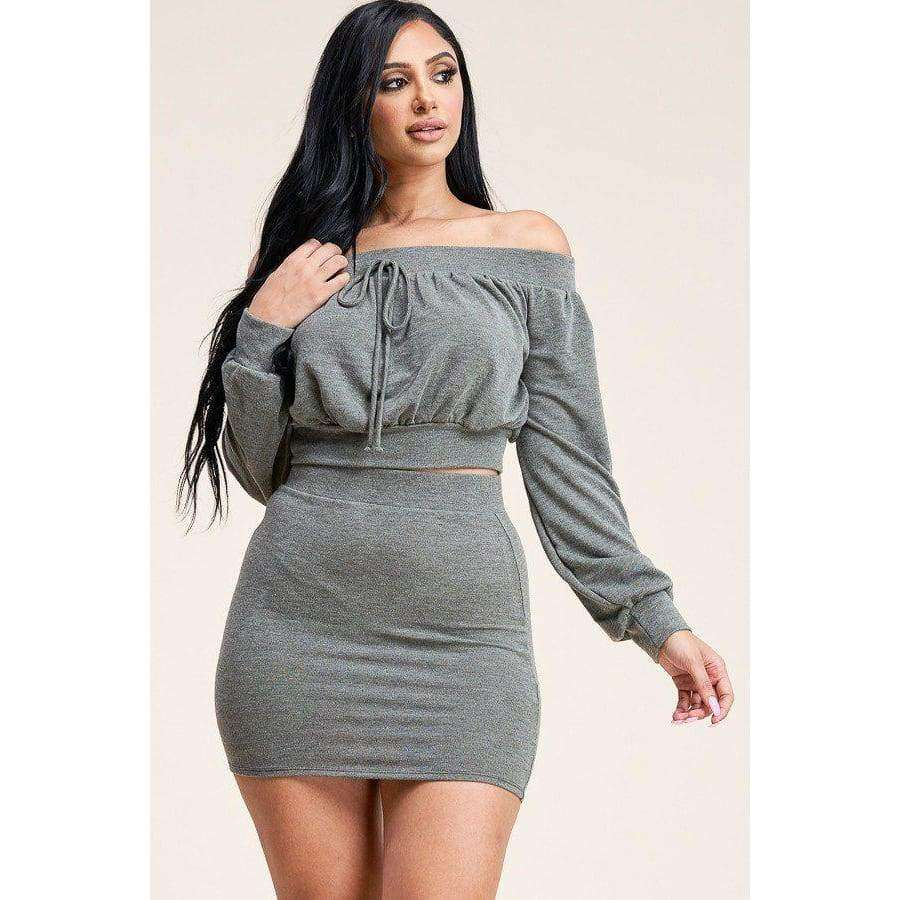 Olive French Terry Long Sleeve Off The Shoulder Top And Skirt (Two Piece Set) - S - Dress