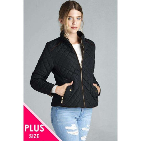 Black Quilted Padding Jacket w/Suede Piping (Curvy Sizes Only) - XL - Jacket
