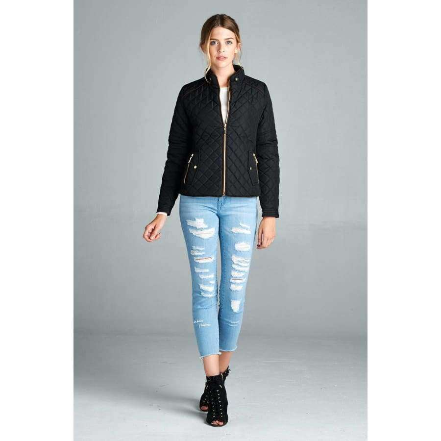 Black Quilted Padding Jacket w/Suede Piping (Curvy Sizes Only) - Jacket
