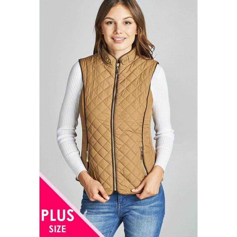 New Camel Faux Shearling Lined Quilted Padding Vest (Curvy Sizes Only) - XL - Jacket