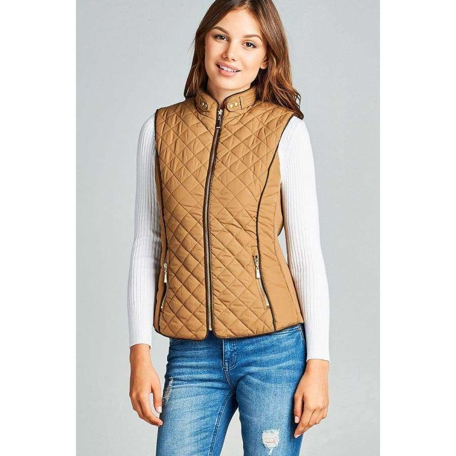 New Camel Faux Shearling Lined Quilted Padding Vest (Curvy Sizes Only) - Jacket
