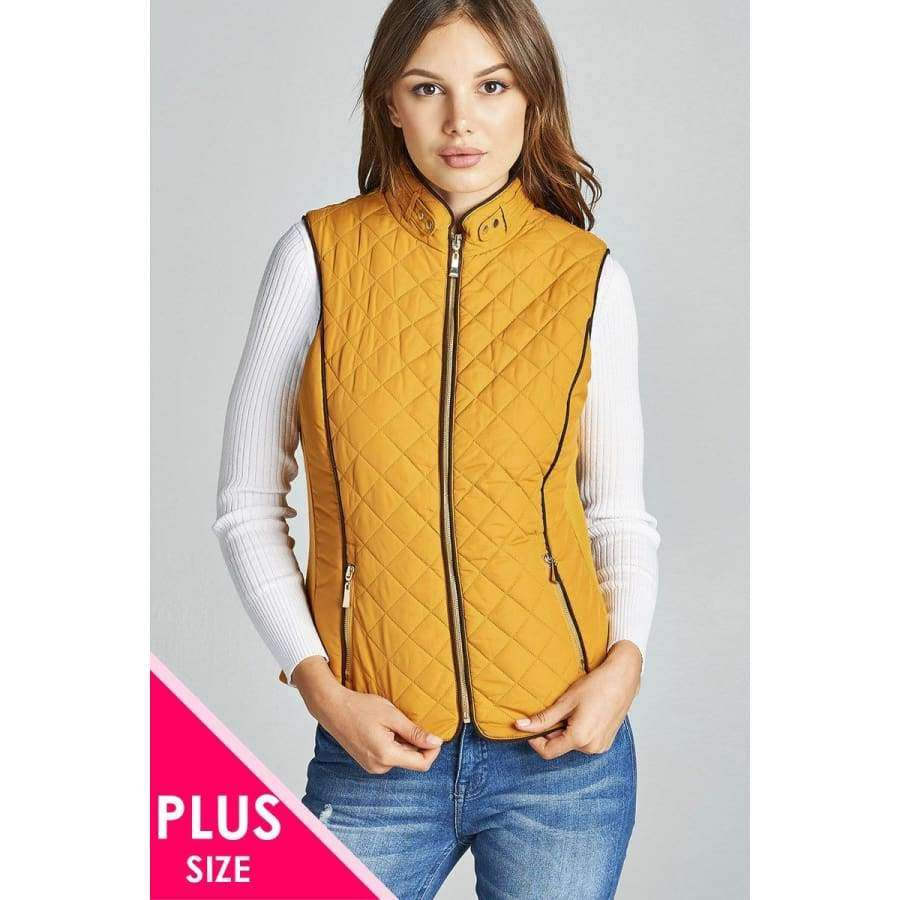 Dark Mustard Faux Shearling Lined Quilted Padding Vest (Curvy Sizes Only) - XL - Jacket