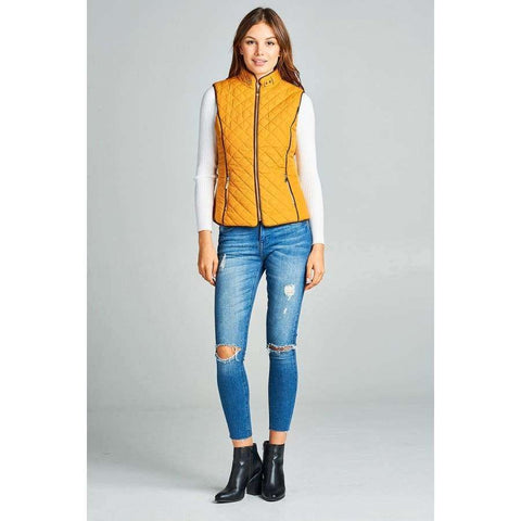 Dark Mustard Faux Shearling Lined Quilted Padding Vest (Curvy Sizes Only) - Jacket