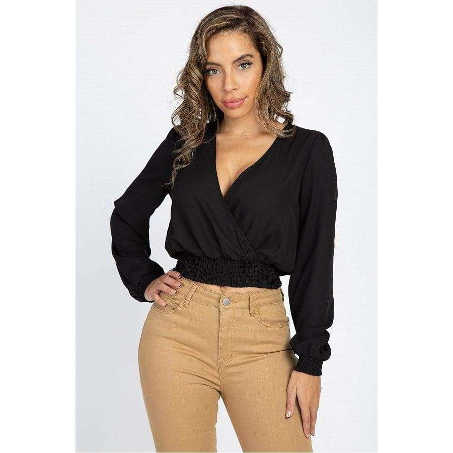 Black Smocked Hem Wrap Crop Top - S - Top