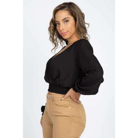 Black Smocked Hem Wrap Crop Top - Top