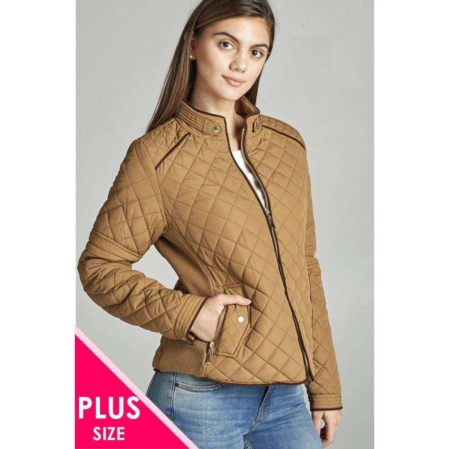 New Camel Quilted Padding Jacket w/Suede Piping (Curvy Sizes Only) - XL - Jacket