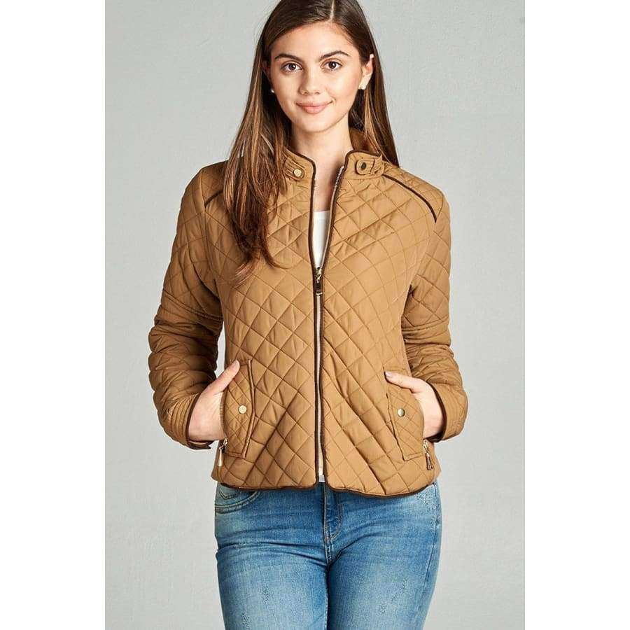 New Camel Quilted Padding Jacket w/Suede Piping (Curvy Sizes Only) - Jacket