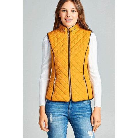 Dark Mustard Faux Shearling Lined Quilted Padding Vest - S - Jacket