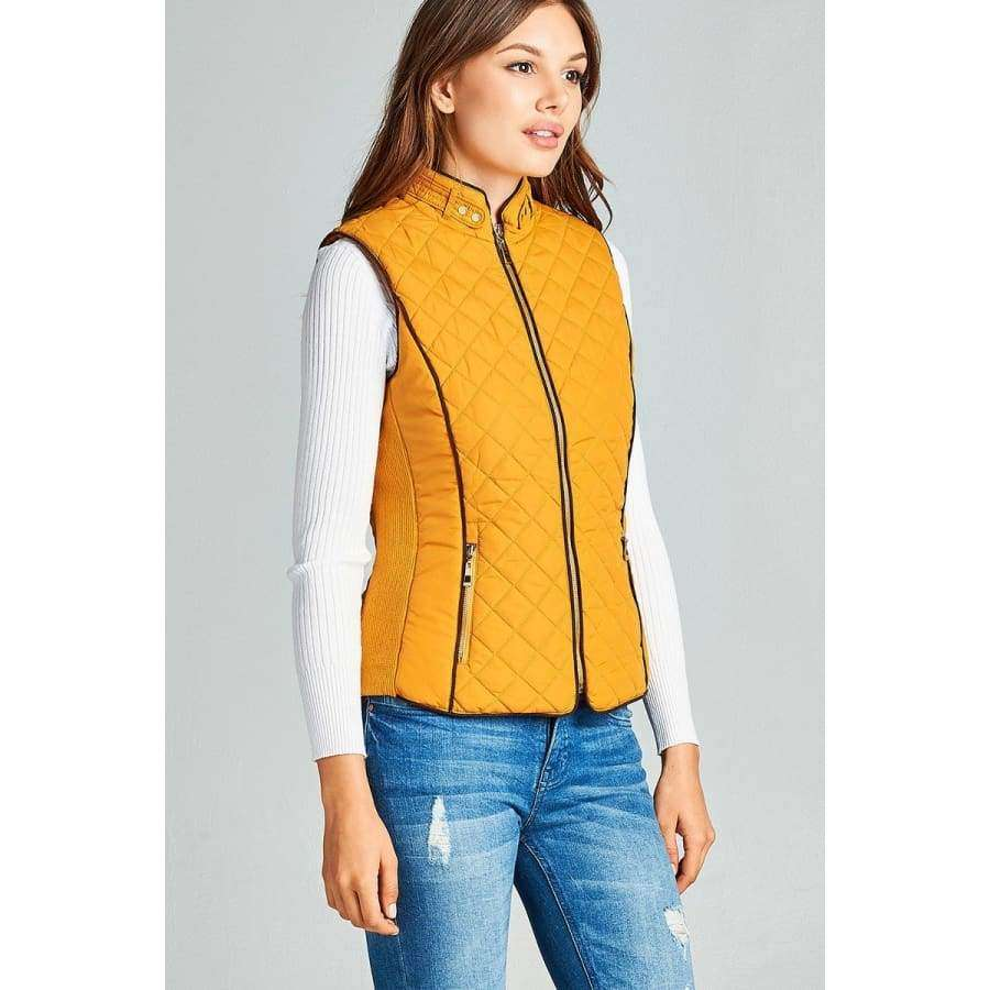 Dark Mustard Faux Shearling Lined Quilted Padding Vest - Jacket
