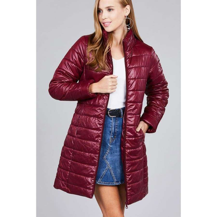 Burgundy Long Sleeve Quilted Long Padding Jacket - S - Jacket